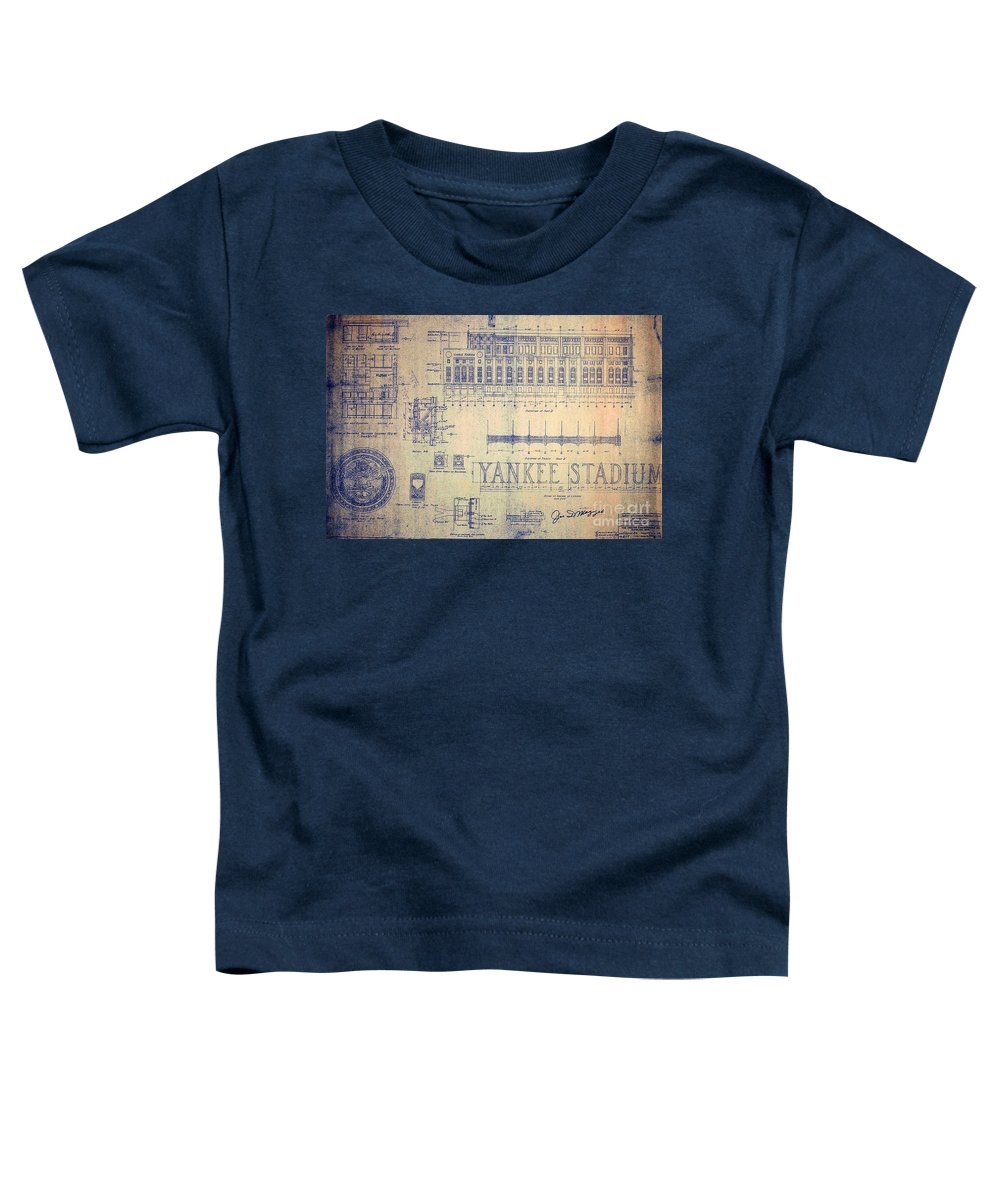 Joe Dimaggio Toddler T-Shirt featuring the drawing Vintage Yankee Stadium Blueprint by Peter Ogden Gallery