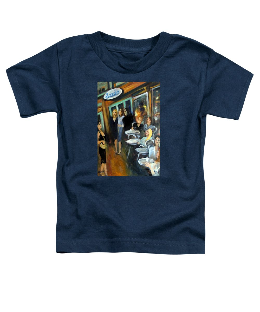 Sidewalk Cafe Toddler T-Shirt featuring the painting Waiting For A Table by Valerie Vescovi