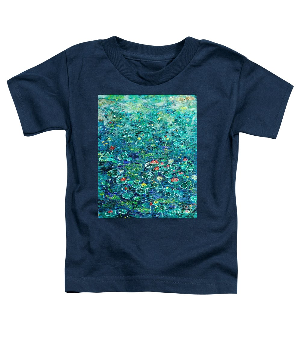 Water Lily Paintings Toddler T-Shirt featuring the painting Water Lilies Lily Pad Lotus Water Lily Paintings by Seon-Jeong Kim