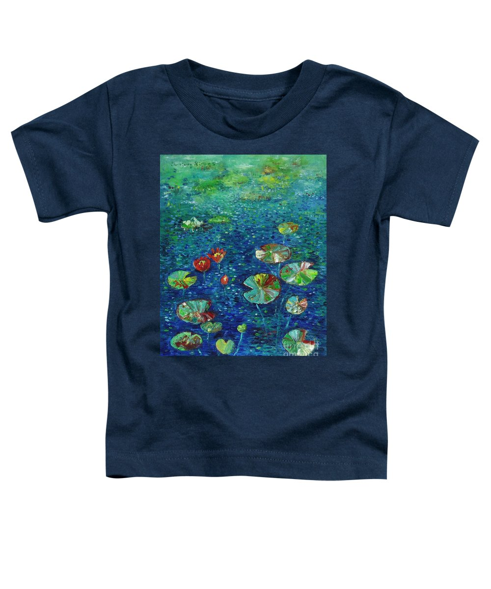 Lotus Paintings Toddler T-Shirt featuring the painting Water Lily Lotus Lily Pads Paintings by Seon-Jeong Kim