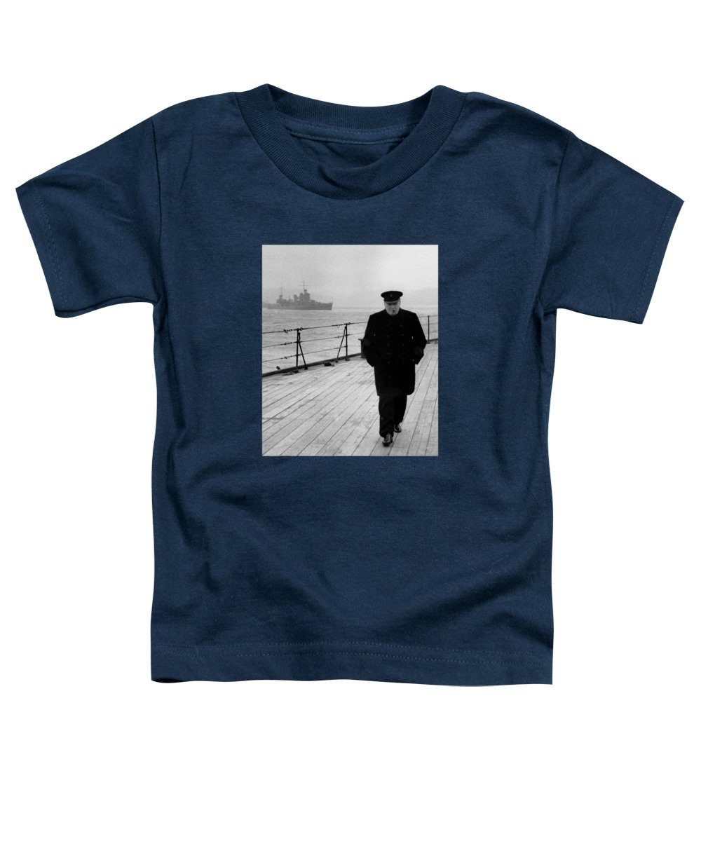 Winston Churchill Toddler T-Shirt featuring the photograph Winston Churchill At Sea by War Is Hell Store