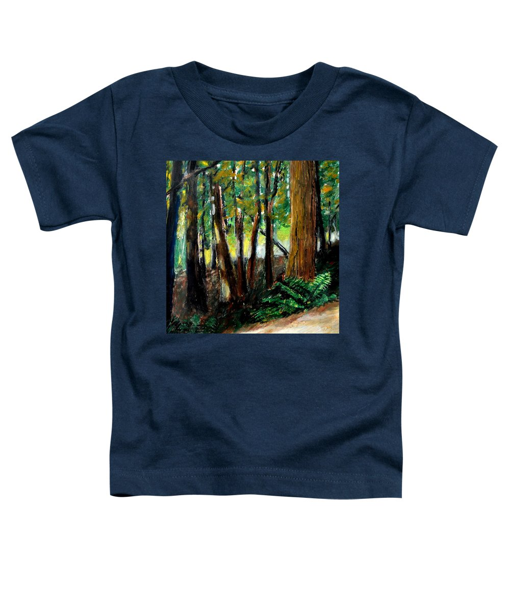 Livingston Trail Toddler T-Shirt featuring the drawing Woodland Trail by Michelle Calkins
