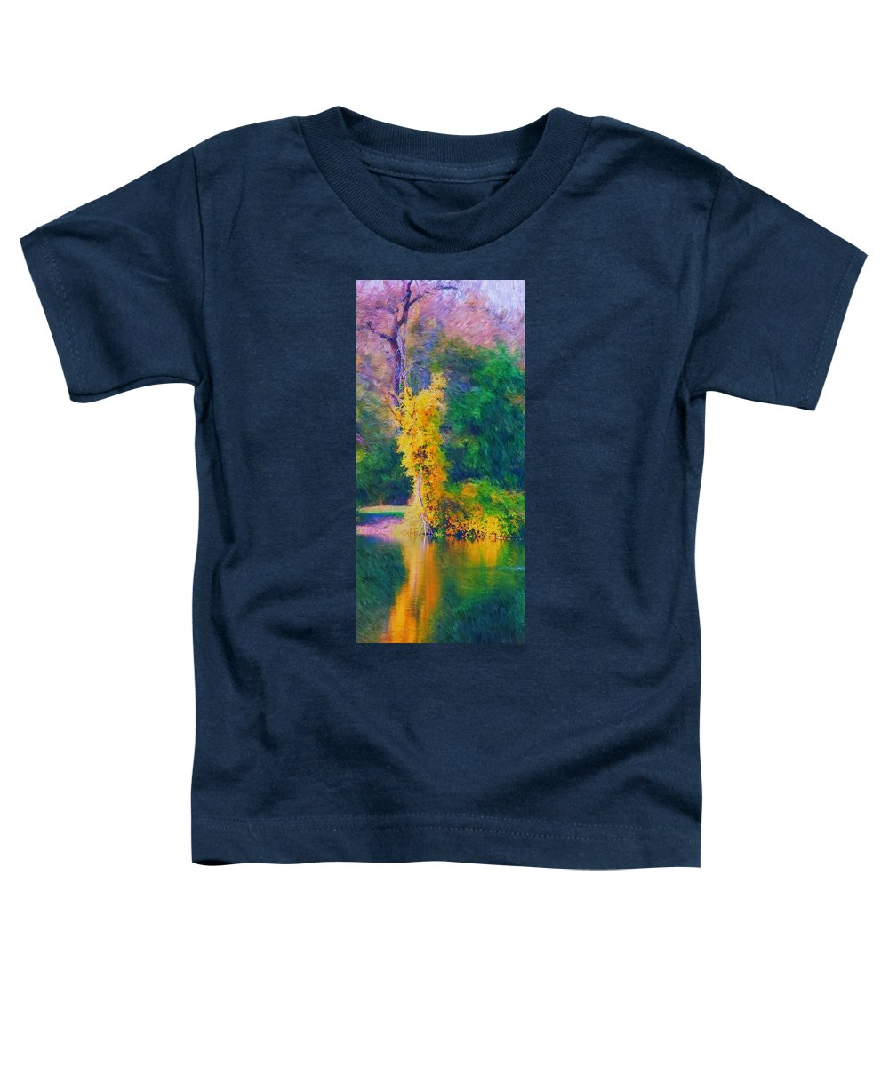 Digital Landscape Toddler T-Shirt featuring the digital art Yellow Reflections by David Lane