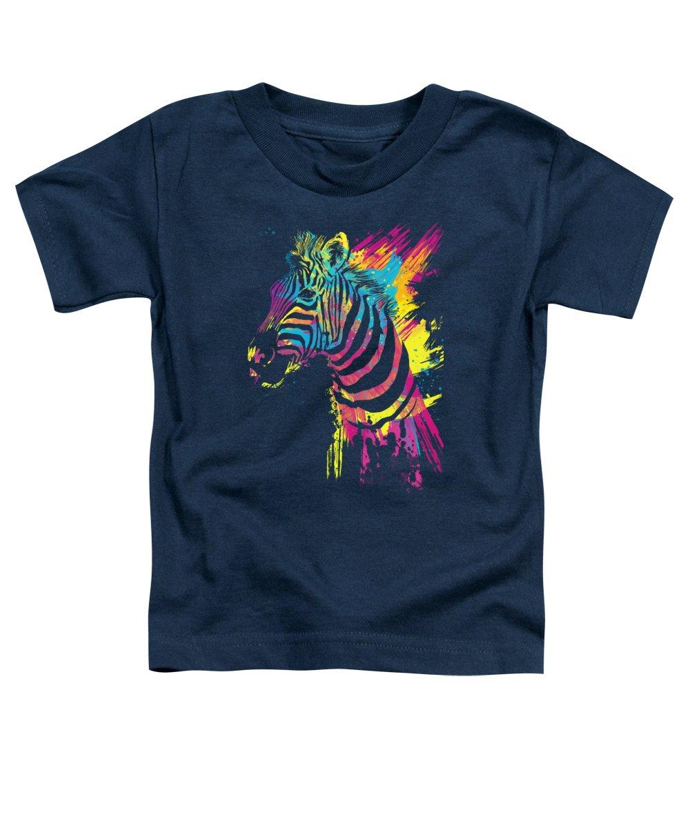 Zebra Toddler T-Shirt featuring the digital art Zebra Splatters by Olga Shvartsur