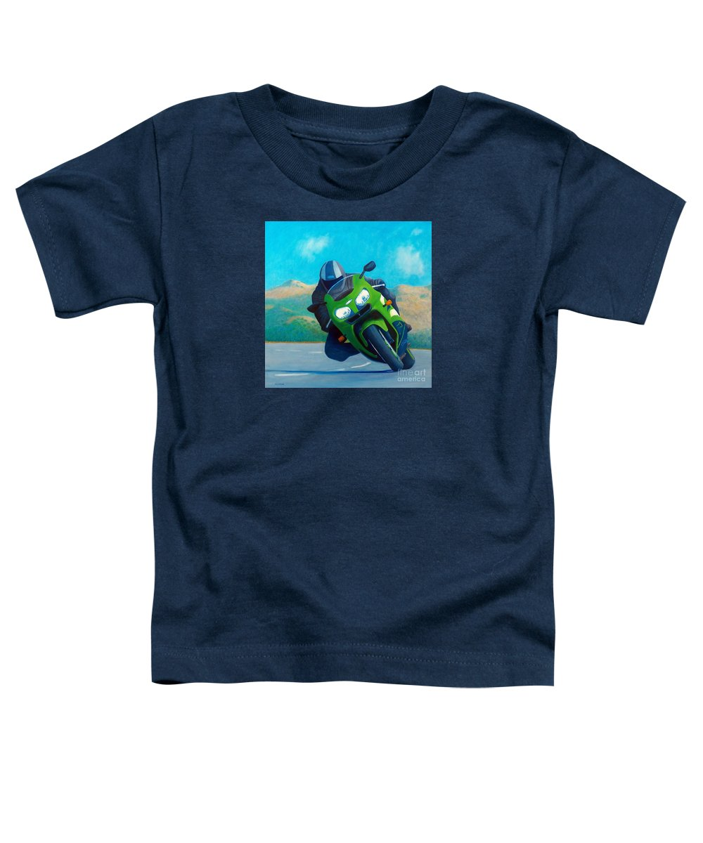 Motorcycle Toddler T-Shirt featuring the painting Zx9 - California Dreaming by Brian Commerford