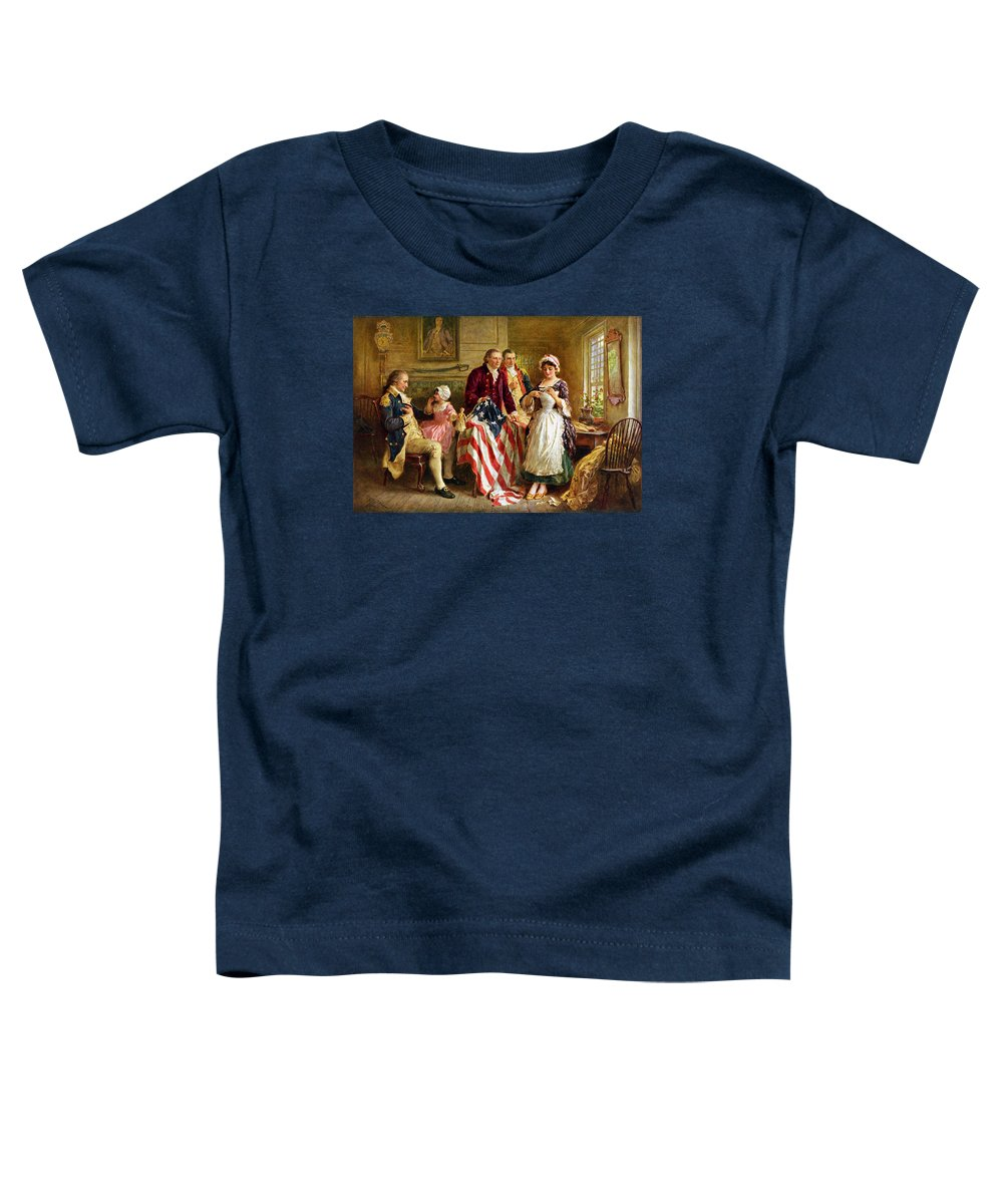 George Washington Toddler T-Shirt featuring the painting Betsy Ross And General George Washington by War Is Hell Store