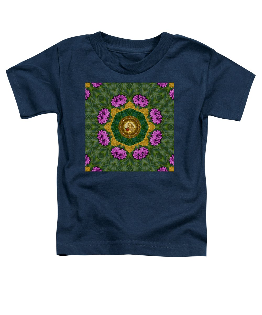 Buddha Toddler T-Shirt featuring the mixed media Buddha Smiles Of Love In Calm Peaceful Nature by Pepita Selles