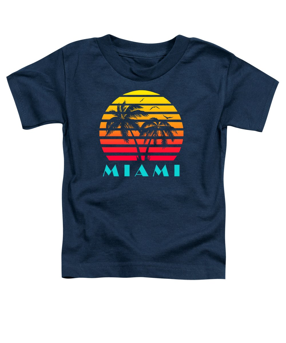 This Cool And Awesome Tee Shirt Features A Classic Vintage Sunset Inspired By Retro Vhs Tapes Of Famous Tv Shows And Movie Posters. Palm Trees And Seagulls In Front Of A Beautiful Tropical Sun That Glows In Yellow Toddler T-Shirt featuring the digital art Miami 80s Tropical Sunset by Filip Schpindel