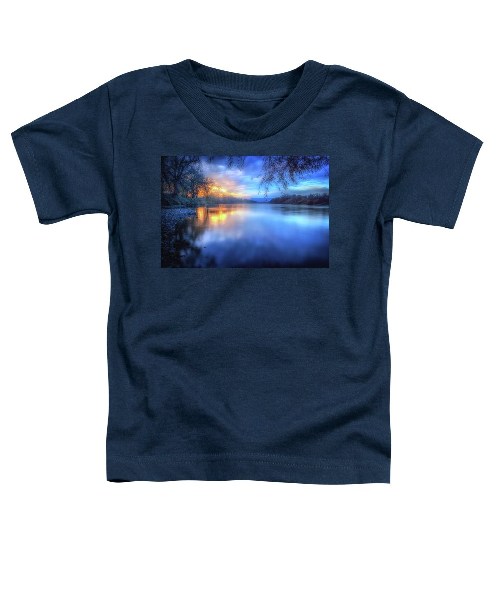 Anderson Toddler T-Shirt featuring the photograph The Last Light Sunset On The Sacramento River by Marnie Patchett