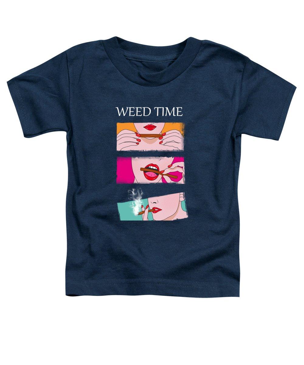 Ganja Toddler T-Shirt featuring the digital art Weed Lady by Mark Ashkenazi