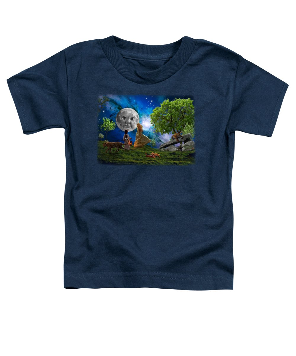 Moon Toddler T-Shirt featuring the digital art When First We Meet The Moon by Monty Wright
