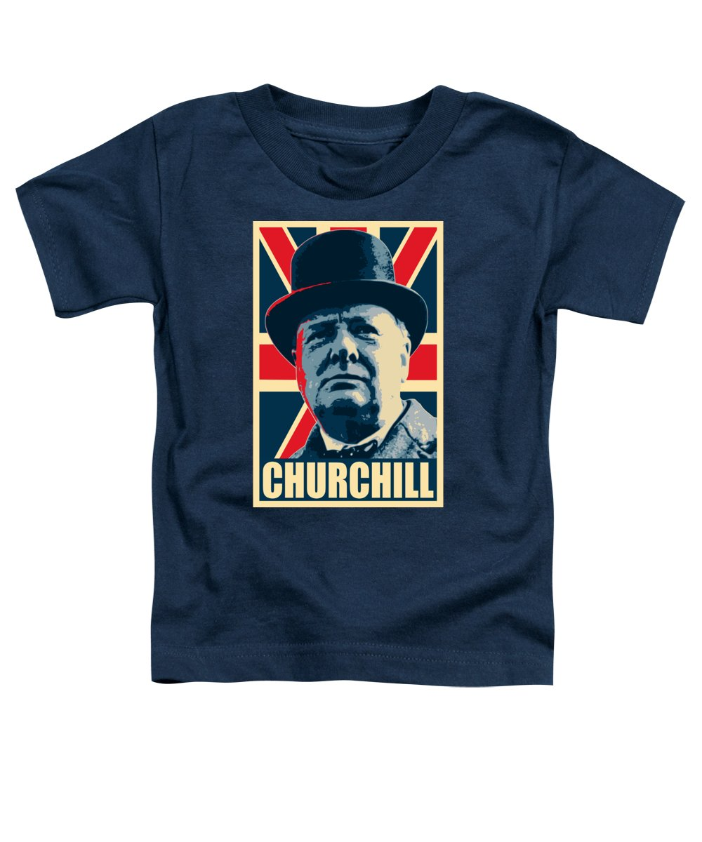 Winston Churchill Toddler T-Shirt featuring the digital art Winston Churchill Propaganda by Filip Hellman