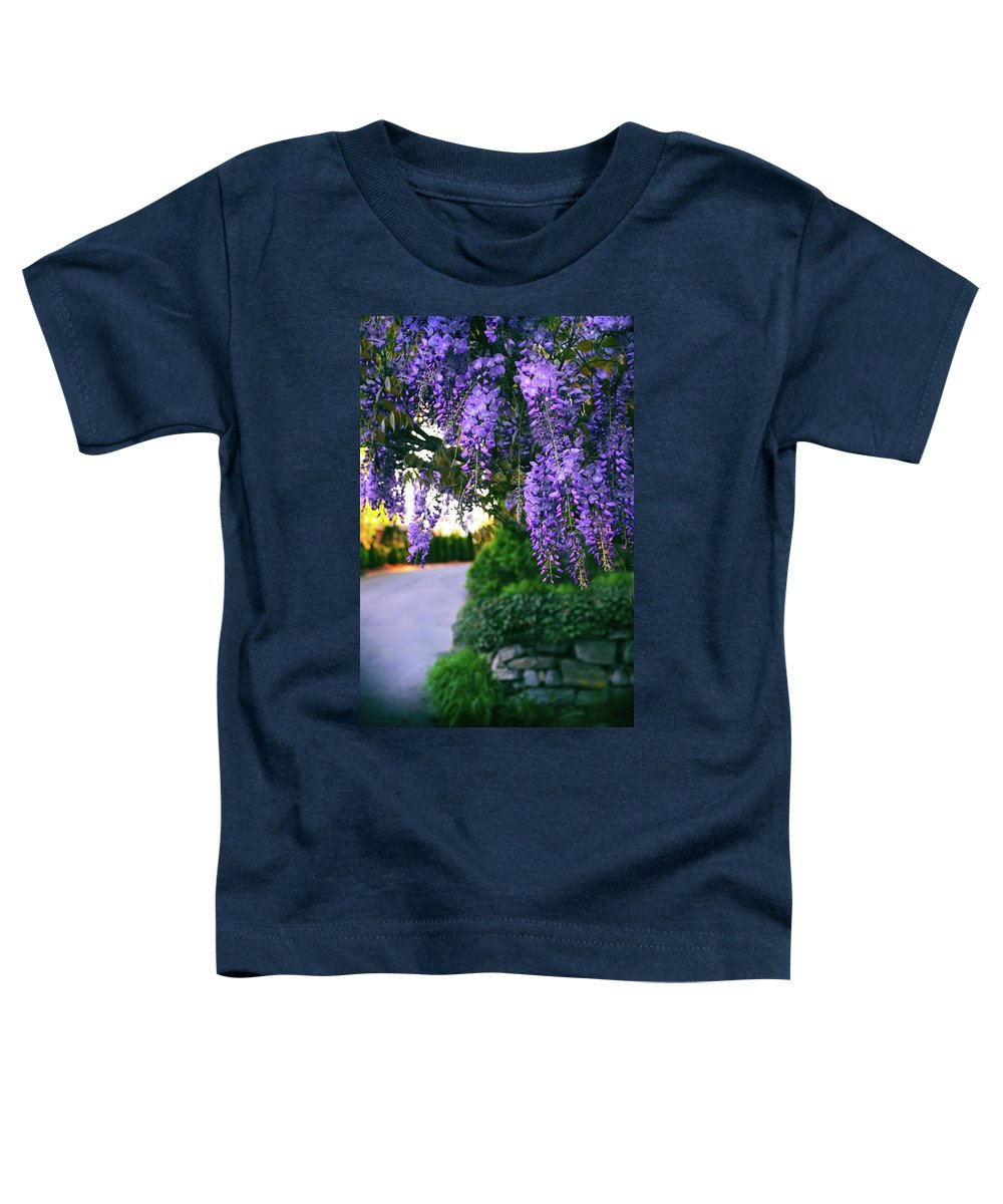 Wisteria Toddler T-Shirt featuring the photograph Wisteria At Sunset by Jessica Jenney
