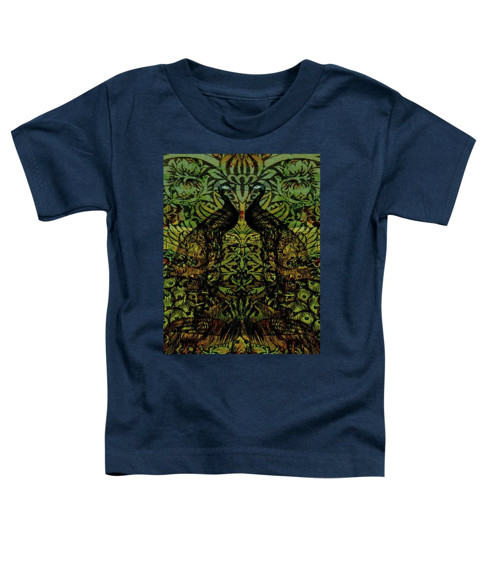 Peafowls Toddler T-Shirt featuring the digital art Indian Blue Peafowl Pattern by Sarah Vernon