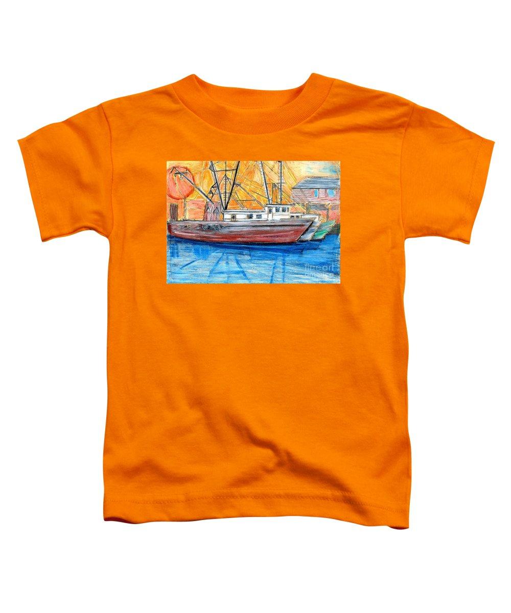 Fishing Toddler T-Shirt featuring the drawing Fishing Trawler by Eric Schiabor