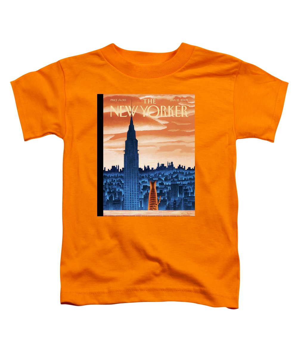 Nyc Toddler T-Shirt featuring the painting New Yorker January 12th, 2009 by Mark Ulriksen