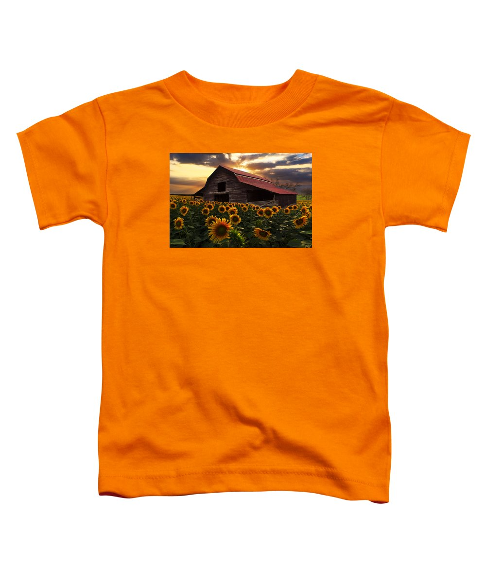Appalachia Toddler T-Shirt featuring the photograph Sunflower Farm by Debra and Dave Vanderlaan