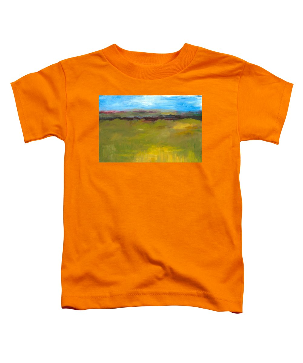 Abstract Expressionism Toddler T-Shirt featuring the painting Abstract Landscape - The Highway Series by Michelle Calkins