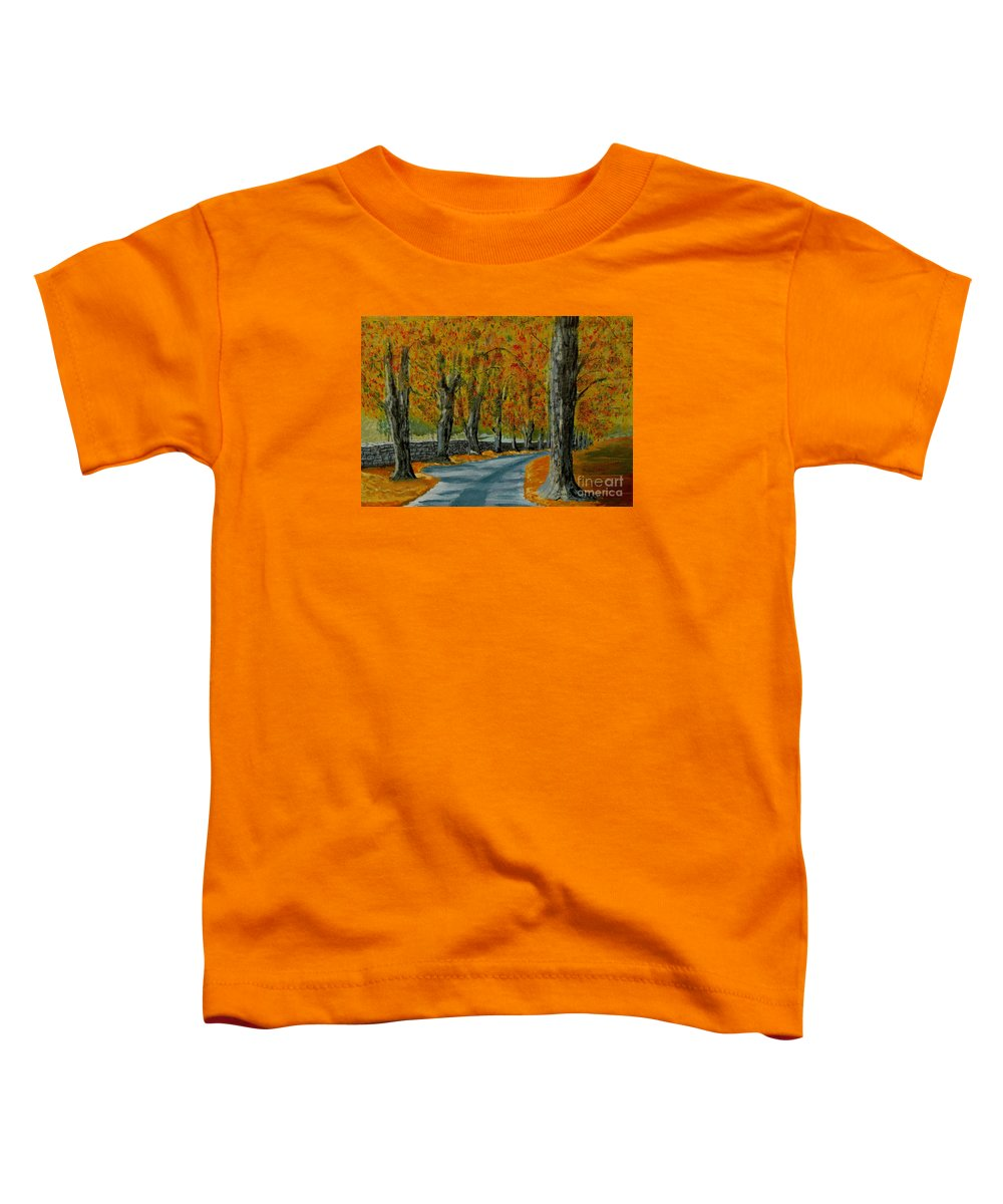 Autumn Toddler T-Shirt featuring the painting Autumn Pathway by Anthony Dunphy