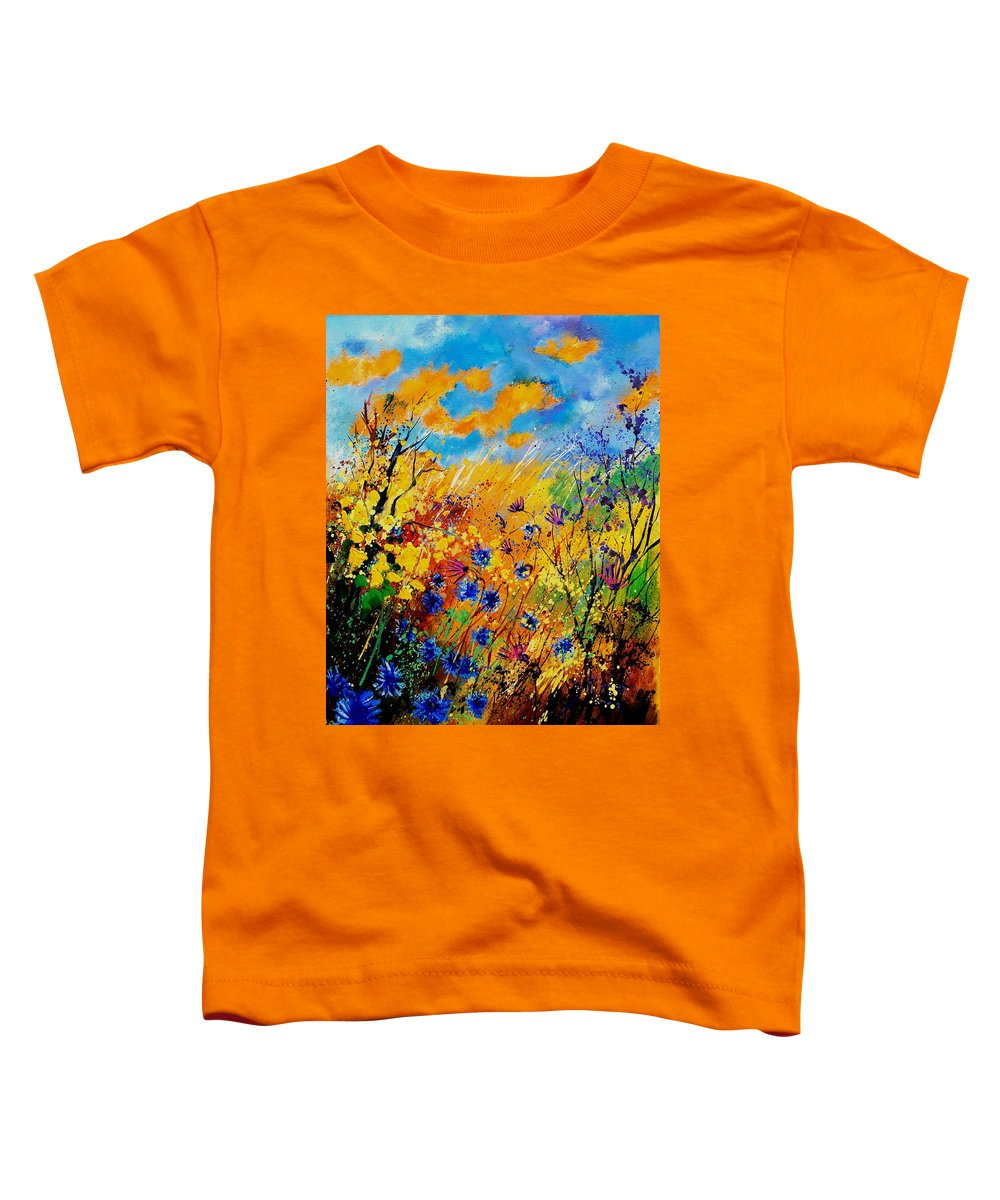 Poppies Toddler T-Shirt featuring the painting Blue Cornflowers 450408 by Pol Ledent