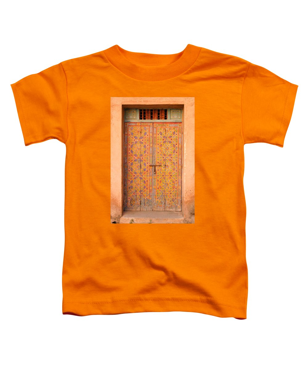 Door Toddler T-Shirt featuring the photograph Colourful Entrance Door Sale Rabat Morocco by Ralph A Ledergerber-Photography