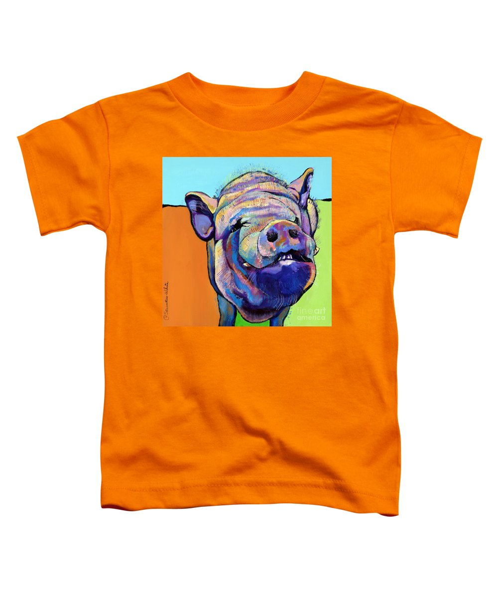 Pat Saunders-white Canvas Prints Toddler T-Shirt featuring the painting Grunt  by Pat Saunders-White