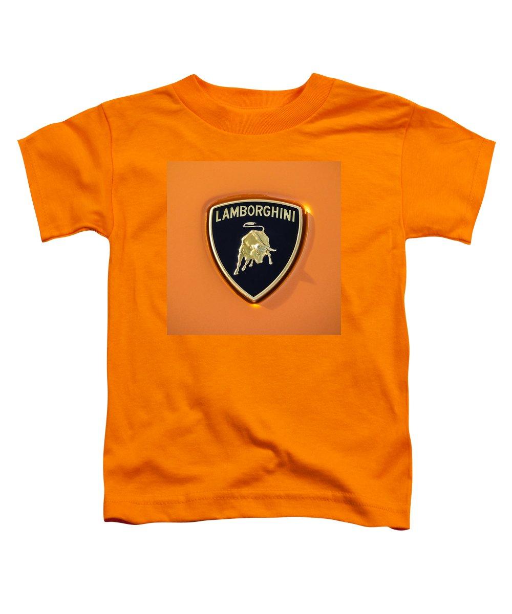 Lamborghini Emblem Toddler T-Shirt featuring the photograph Lamborghini Emblem -0525c55 by Jill Reger