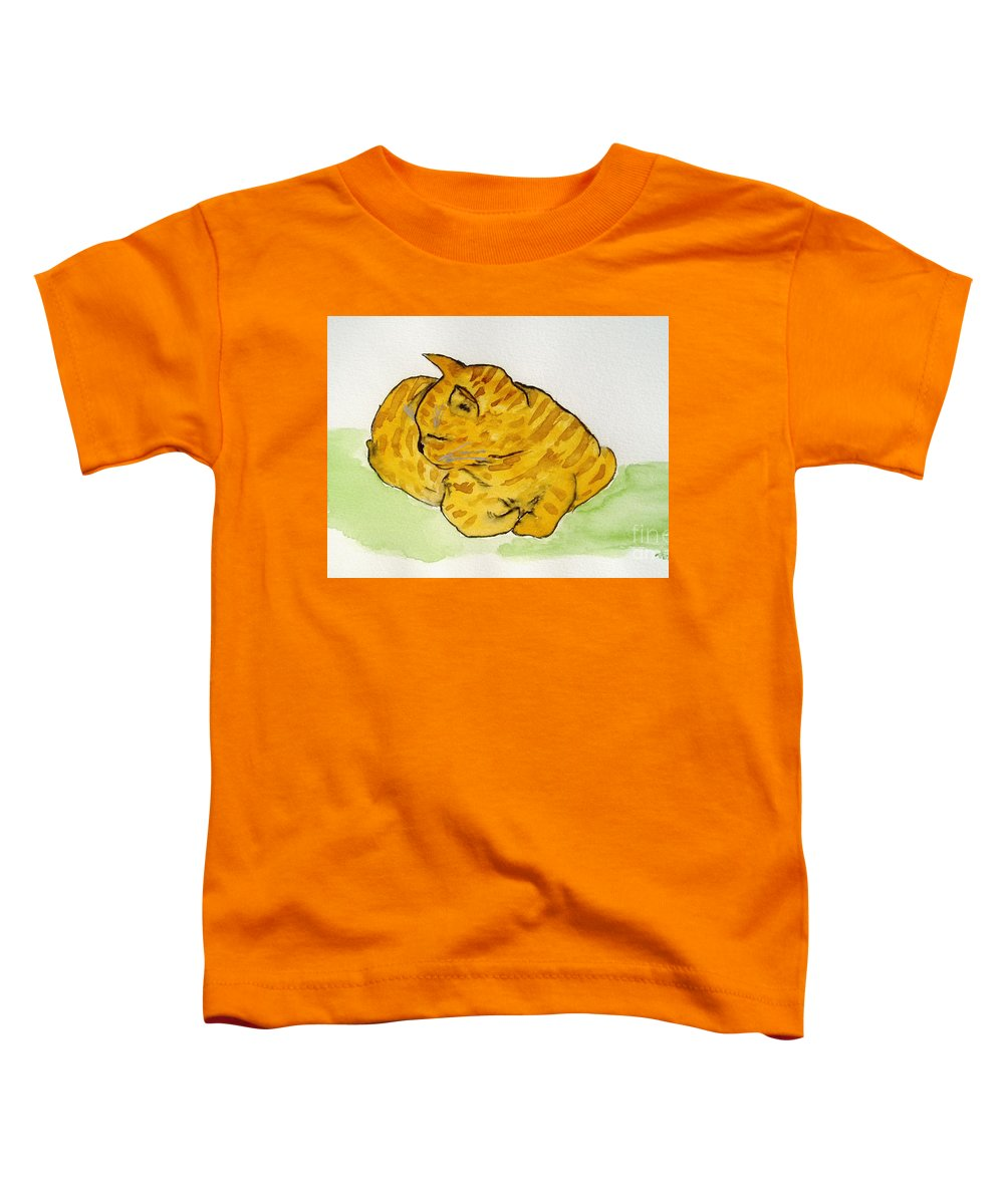 Cat Painting Toddler T-Shirt featuring the painting Mr. Yellow by Reina Resto