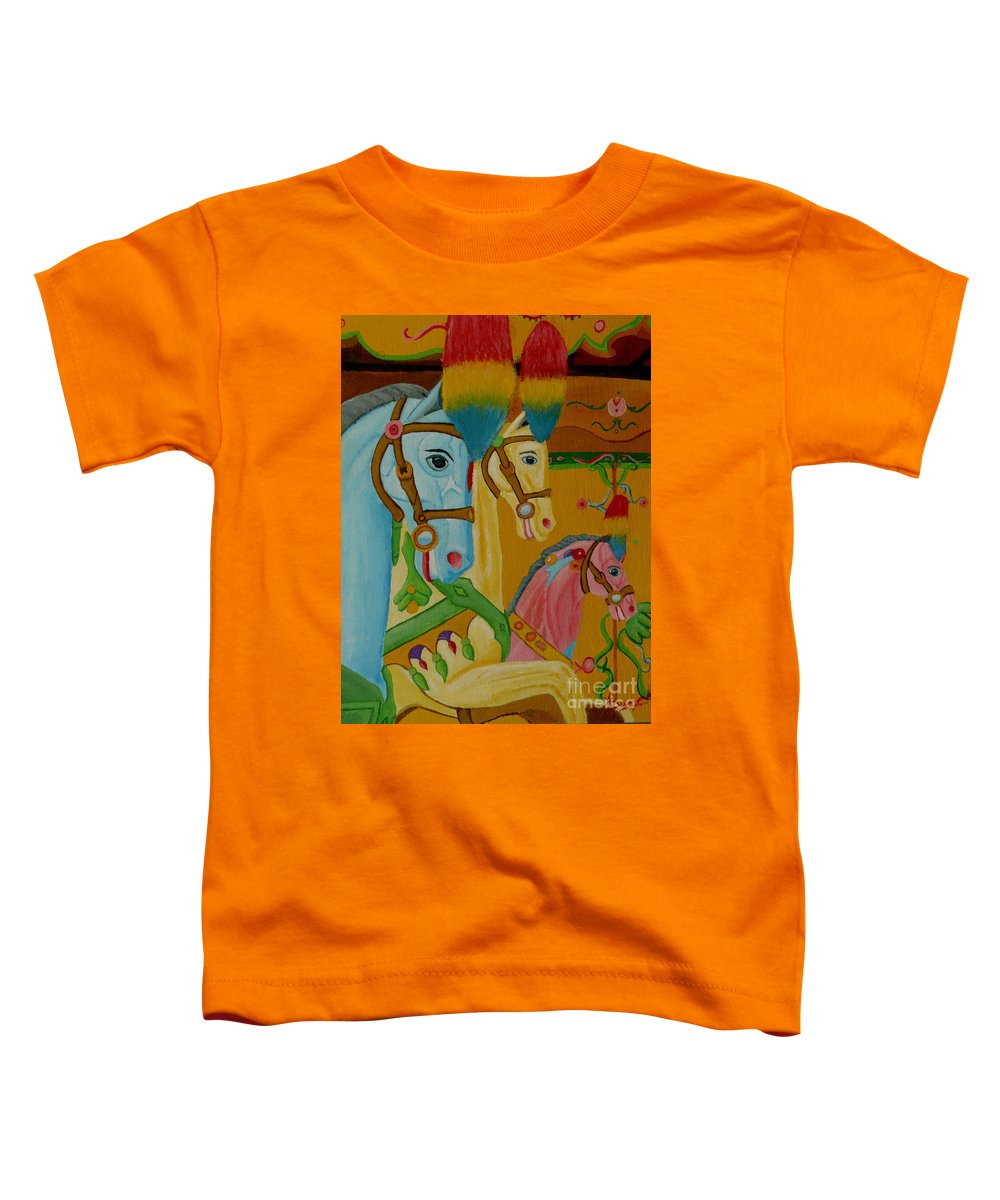 Carousel Toddler T-Shirt featuring the painting Painted Ponies by Anthony Dunphy