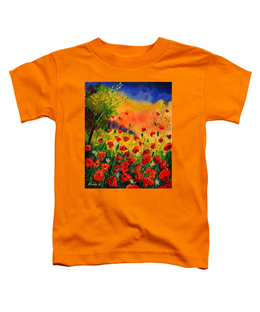Poppies Toddler T-Shirt featuring the painting Red Poppies 45 by Pol Ledent