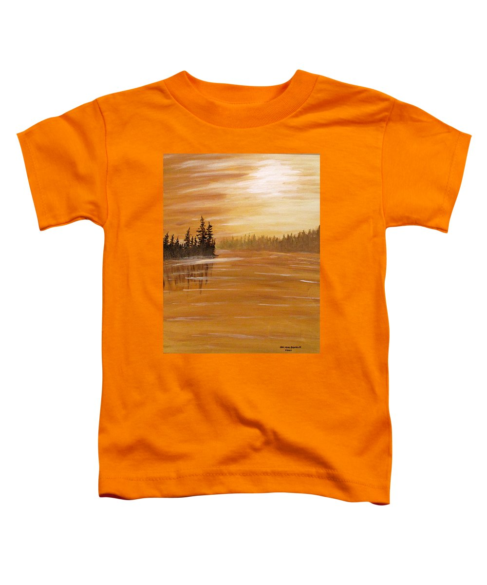 Northern Ontario Toddler T-Shirt featuring the painting Rock Lake Morning 1 by Ian MacDonald