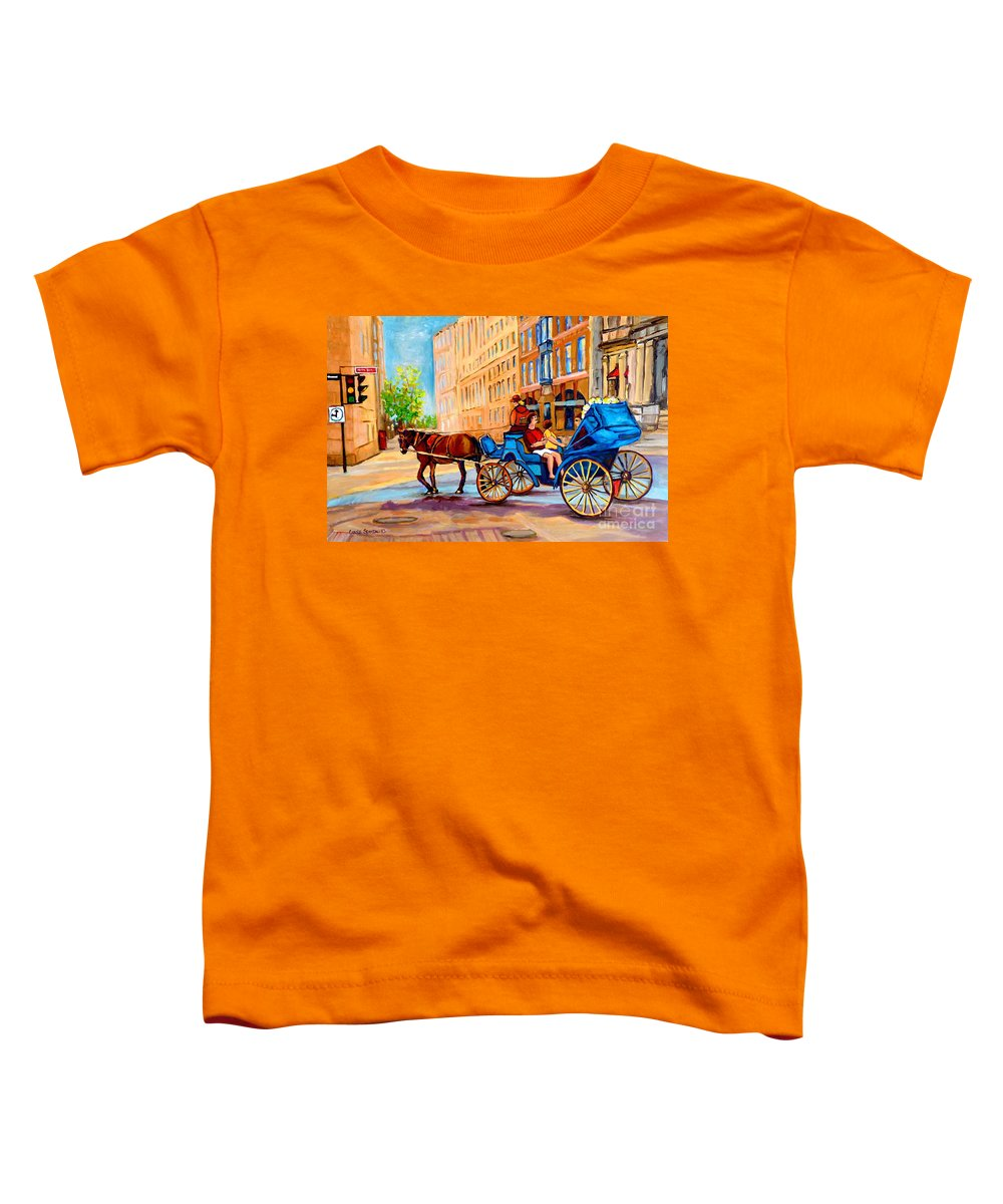 Rue Notre Dame Toddler T-Shirt featuring the painting Rue Notre Dame Caleche Ride by Carole Spandau