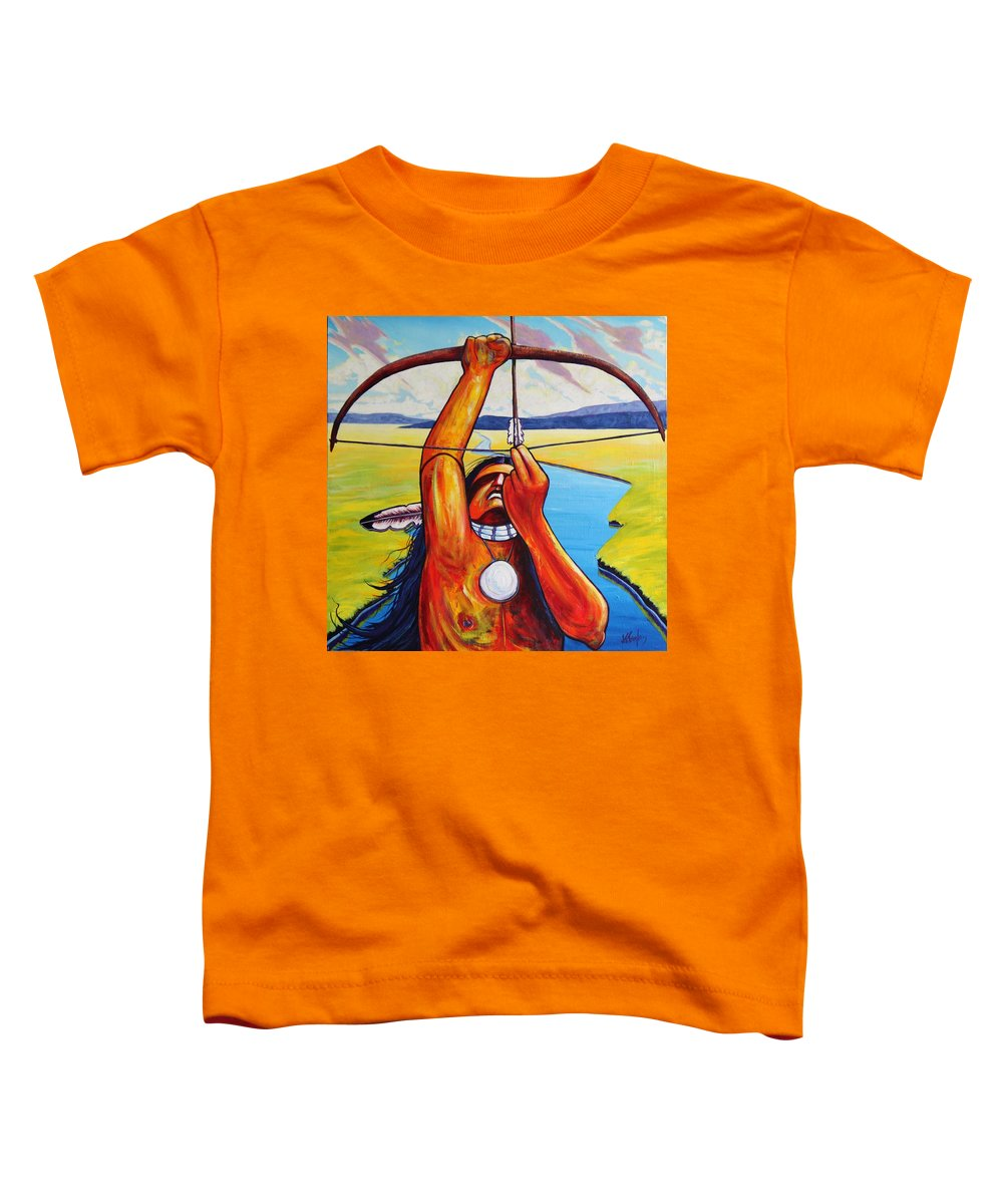 Native American Toddler T-Shirt featuring the painting Shamans Prayer by Joe Triano