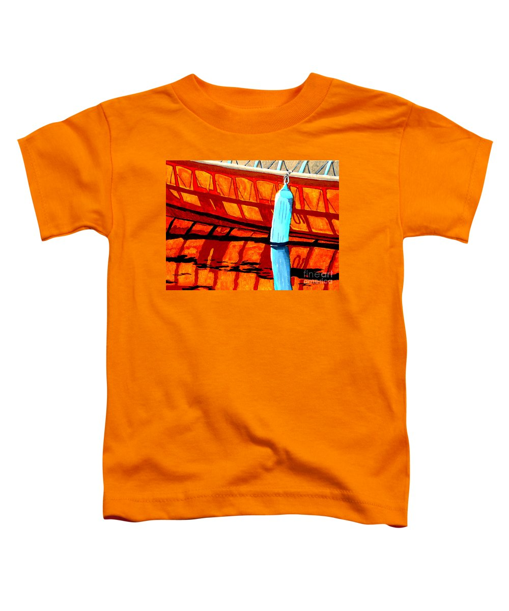 Canoe Toddler T-Shirt featuring the painting The Blue Fender by Anthony Dunphy