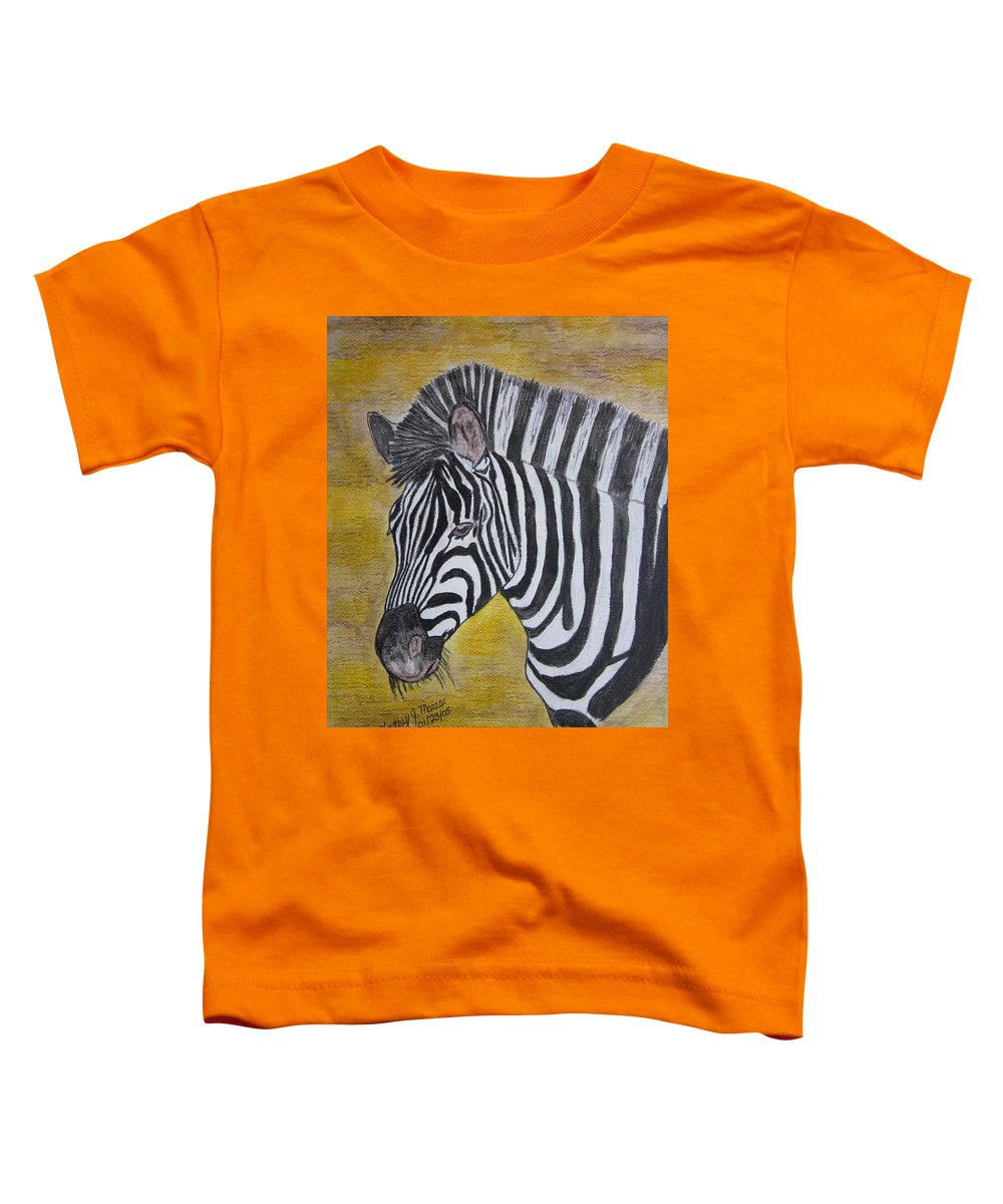 Zebra Toddler T-Shirt featuring the painting Zebra Portrait by Kathy Marrs Chandler
