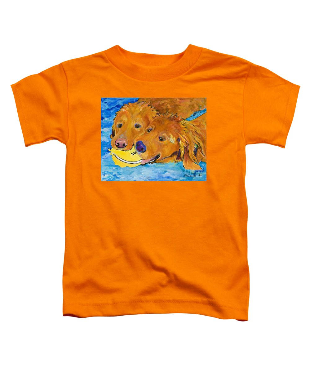 Golden Retriever Toddler T-Shirt featuring the painting Double Your Pleasure by Pat Saunders-White
