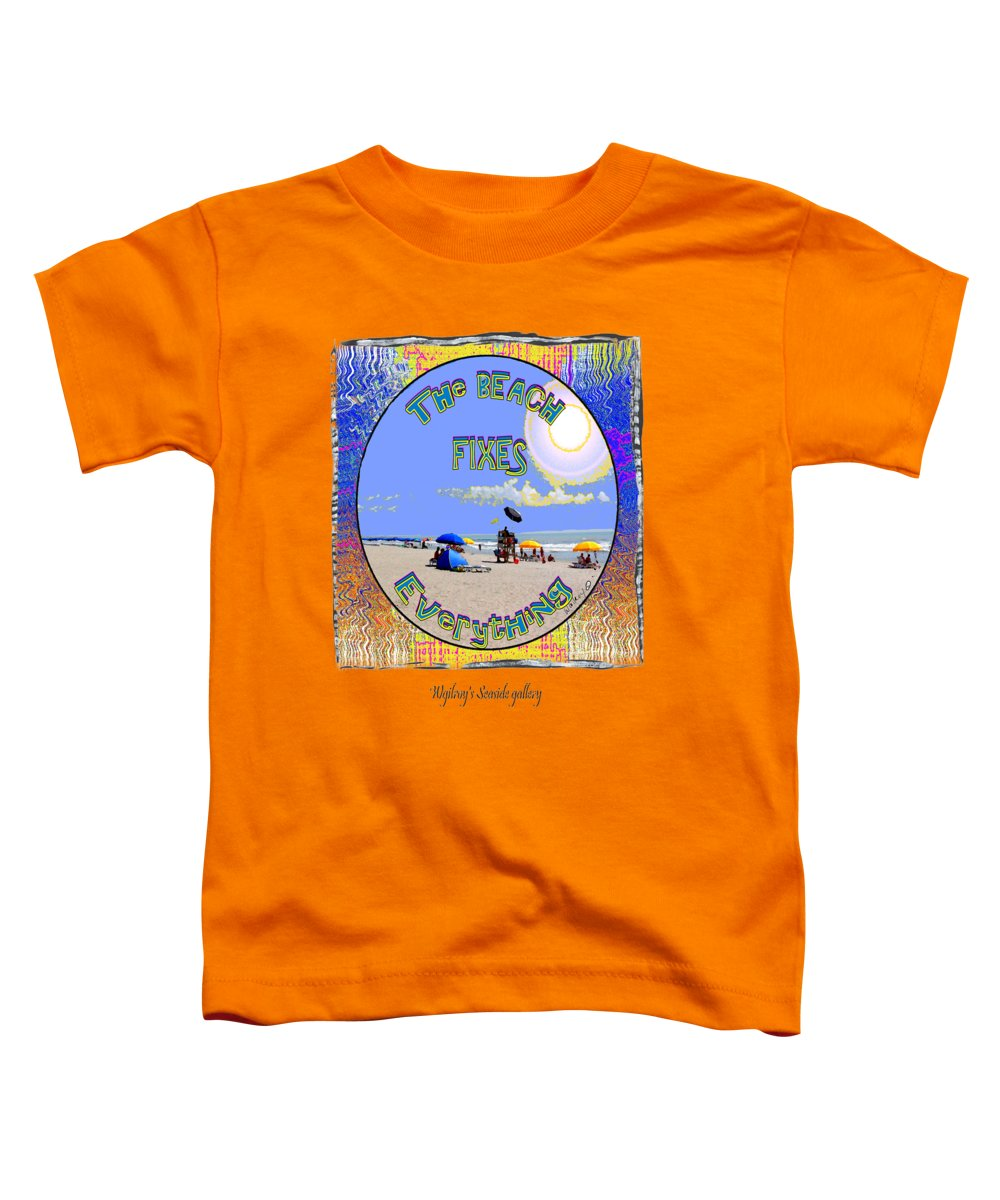 Beach Toddler T-Shirt featuring the mixed media Beach Sign by W Gilroy