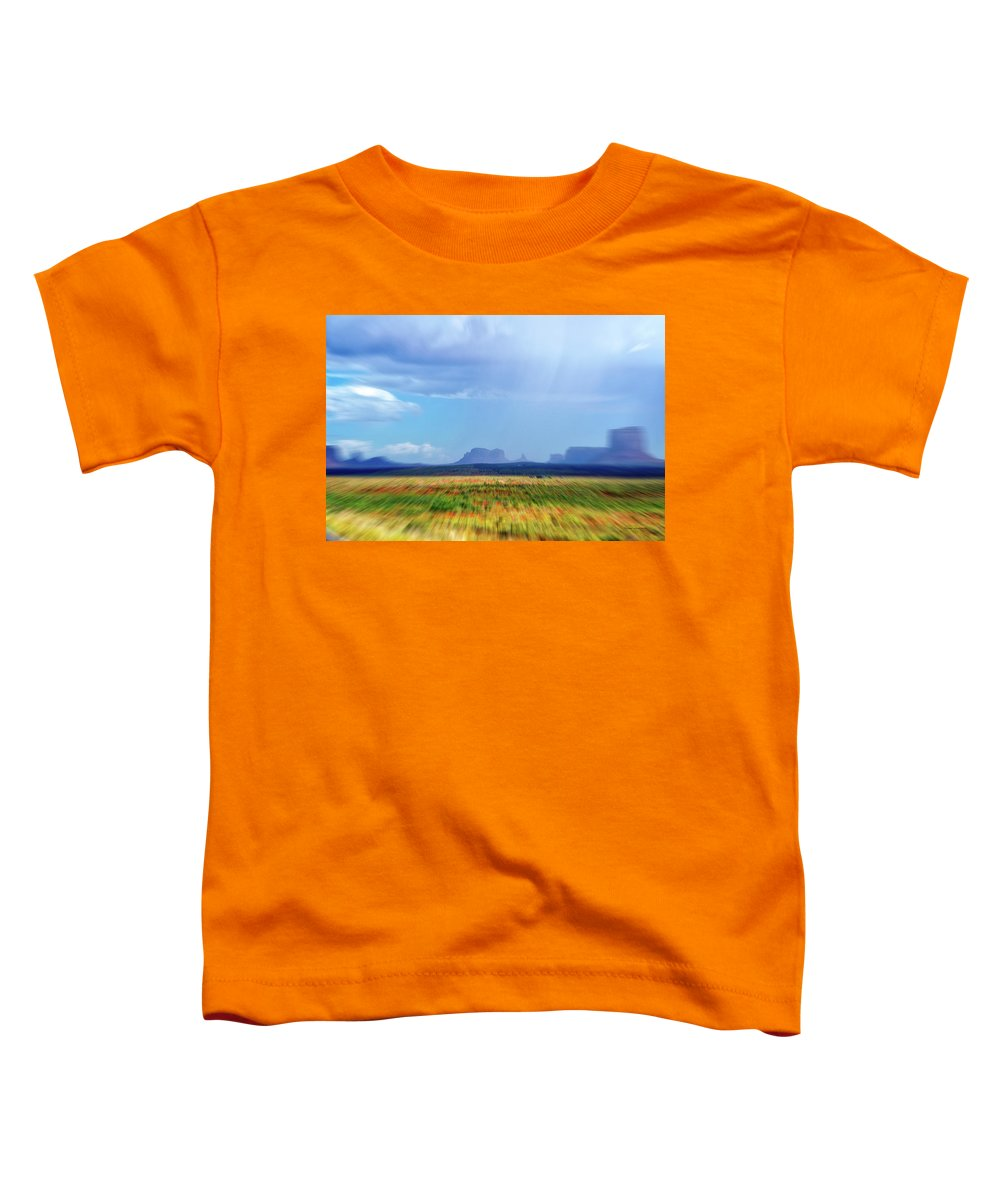 Monument Valley Toddler T-Shirt featuring the mixed media 4 Wheeling With The Storm Cell Approaching Monument Valley 06 by Thomas Woolworth