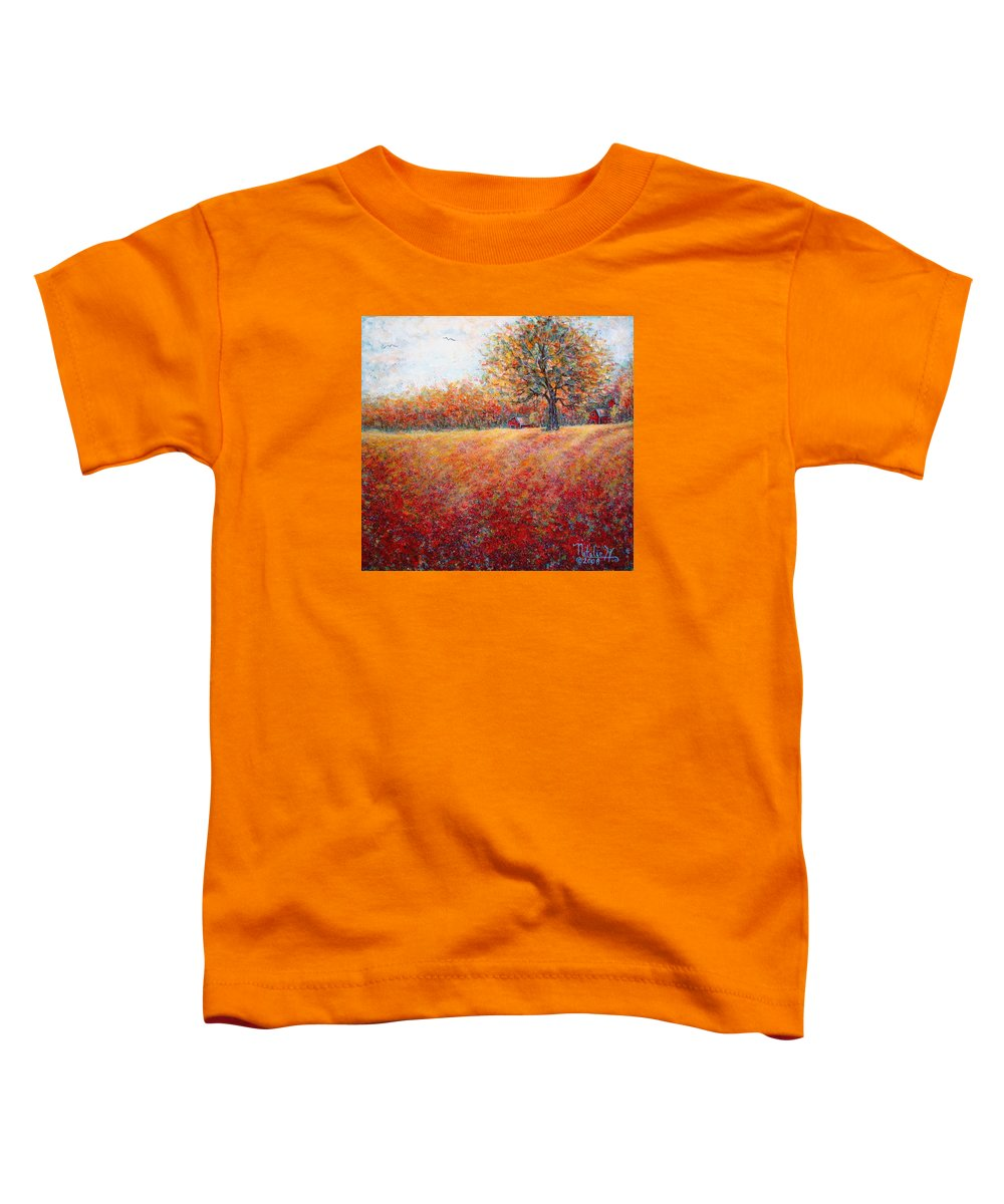Autumn Landscape Toddler T-Shirt featuring the painting A Beautiful Autumn Day by Natalie Holland