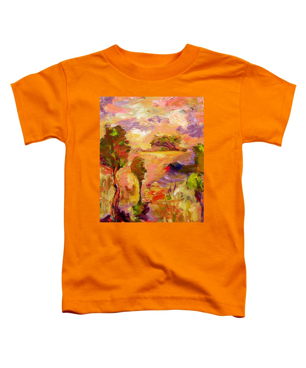 Abstract Paintings Toddler T-Shirt featuring the painting A Joyous Landscape by Julianne Felton