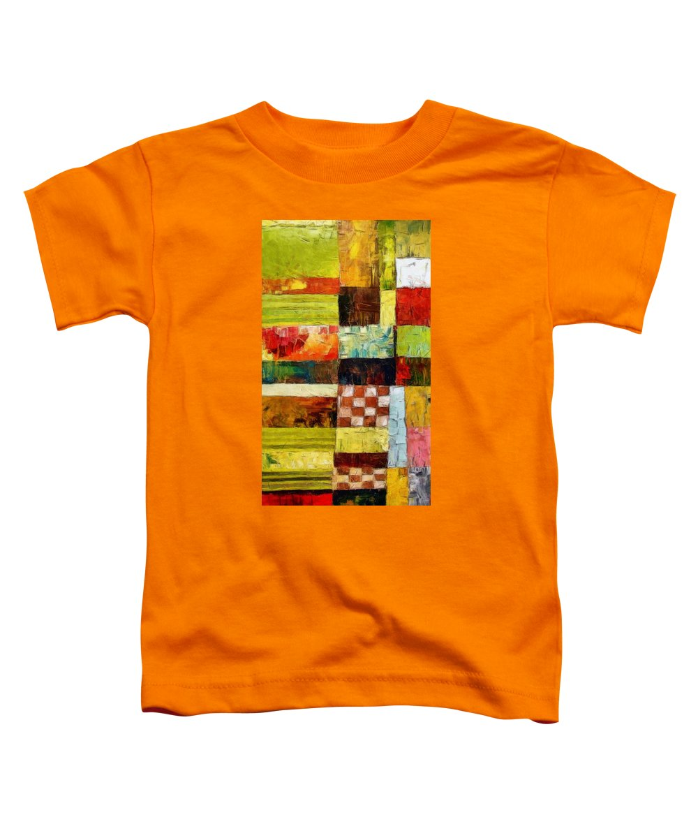 Patchwork Toddler T-Shirt featuring the painting Abstract Color Study With Checkerboard And Stripes by Michelle Calkins