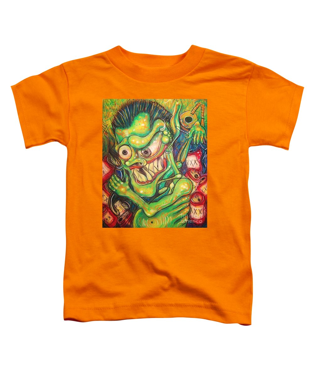 Beer Toddler T-Shirt featuring the painting Alcoholic Demon by Americo Salazar