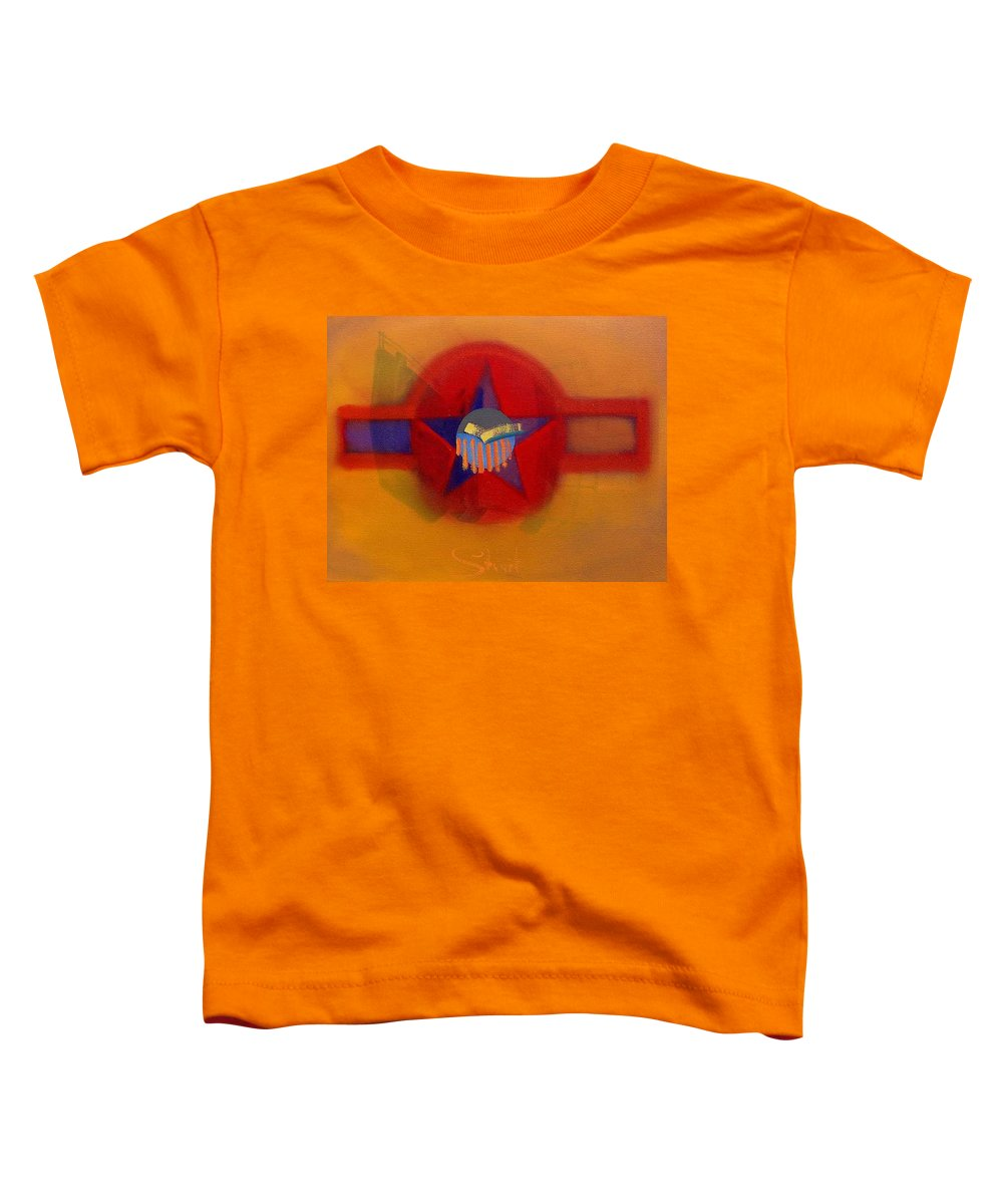 Usaaf Insignia And Idealised Landscape In Union Toddler T-Shirt featuring the painting American Sub Decal by Charles Stuart