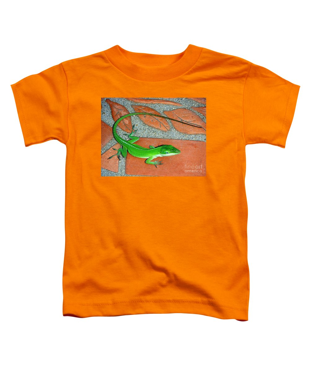 Nature Toddler T-Shirt featuring the photograph Anole On Chair Tiles by Lucyna A M Green