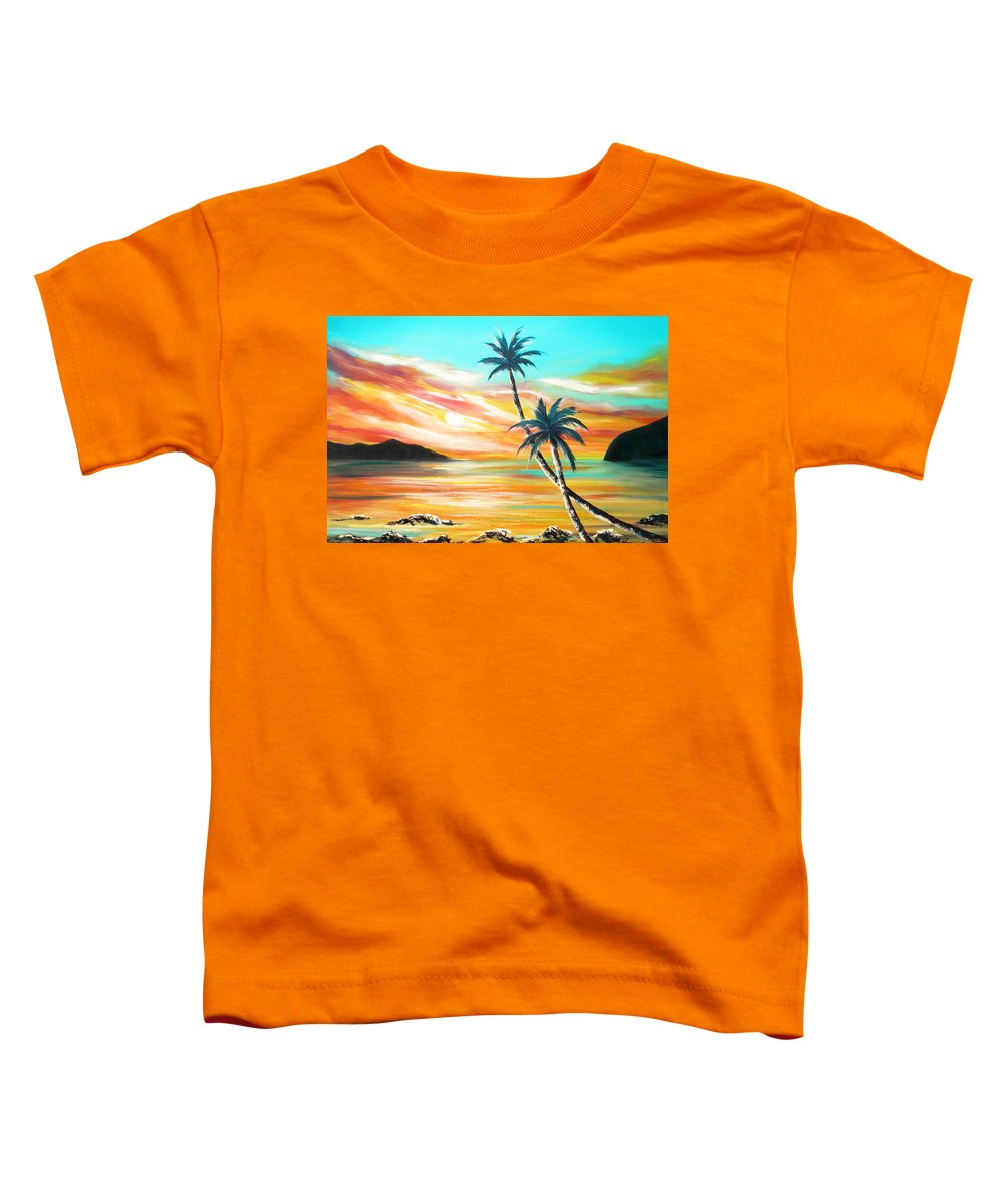 Sunset Toddler T-Shirt featuring the painting Another Sunset In Paradise by Gina De Gorna