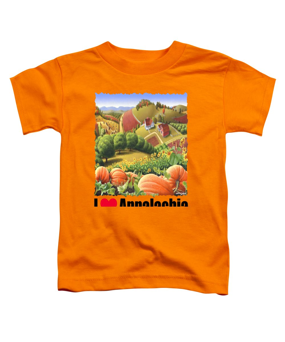 I Love Appalachia Toddler T-Shirt featuring the painting I Love Appalachia - Appalachian Pumpkin Patch - Rural Farm Landscape by Walt Curlee