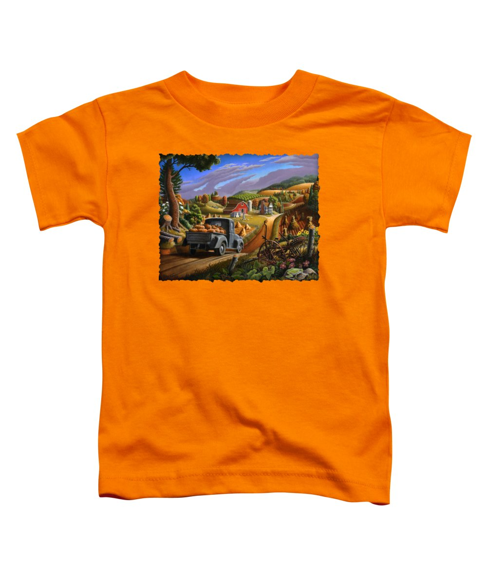 Autumn Toddler T-Shirt featuring the painting Autumn Appalachia Thanksgiving Pumpkins Rural Country Farm Landscape - Folk Art - Fall Rustic by Walt Curlee