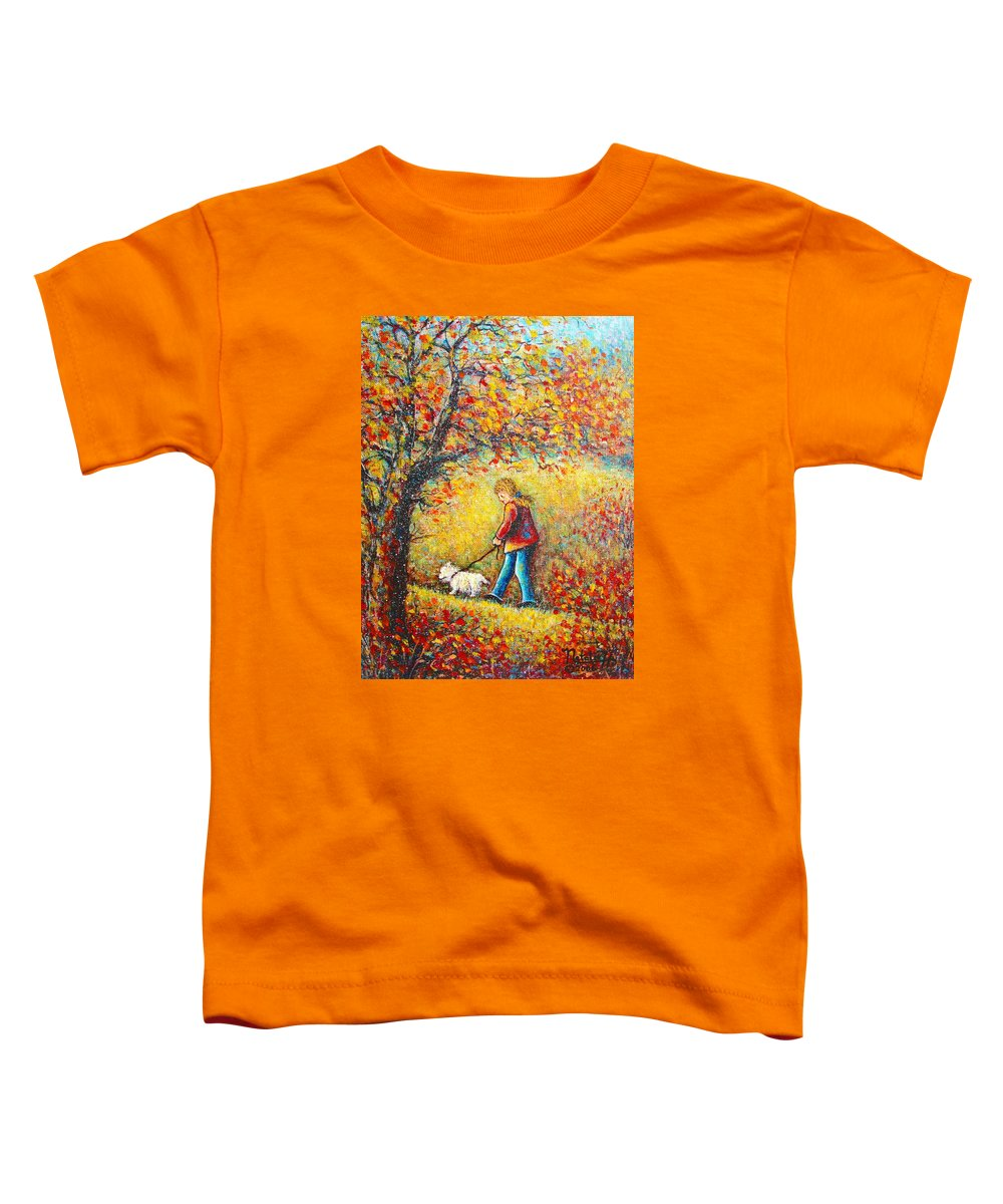 Landscape Toddler T-Shirt featuring the painting Autumn Walk by Natalie Holland