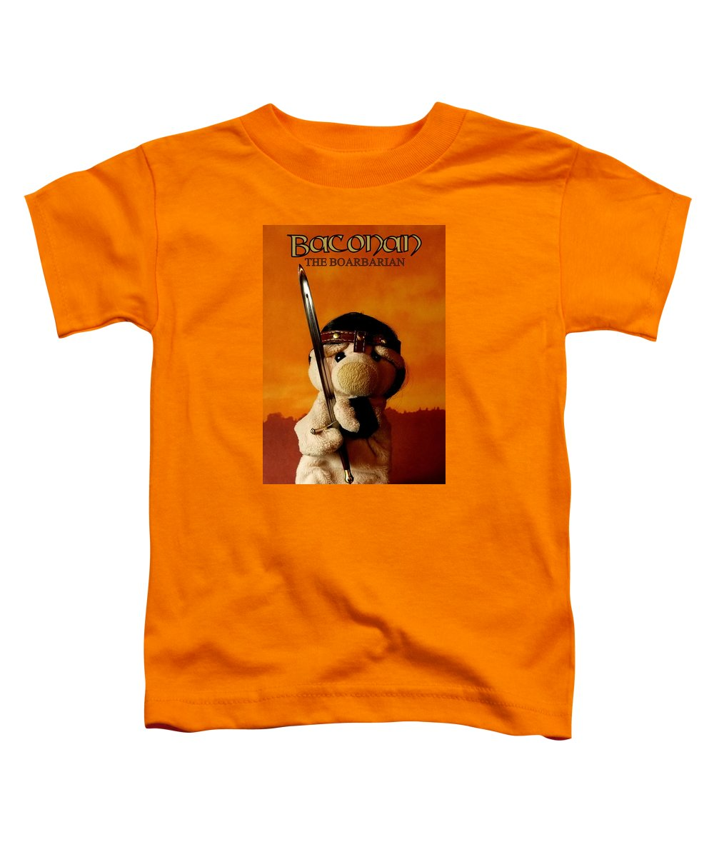 Piggy Toddler T-Shirt featuring the photograph Baconan The Boarbarian by Piggy