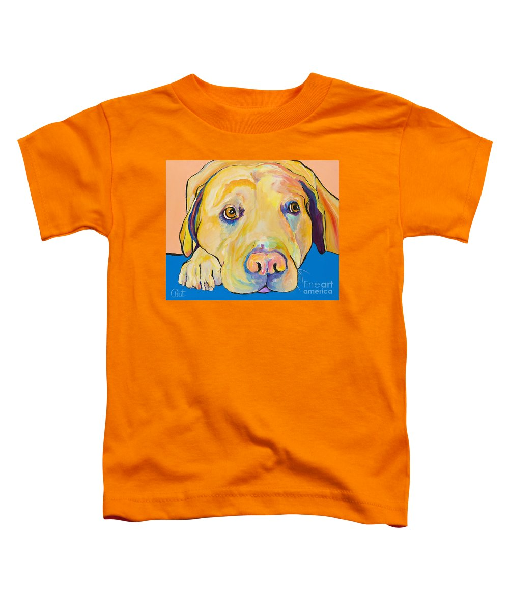 Dog Paintings Yellow Lab Puppy Colorful Animals Pets Toddler T-Shirt featuring the painting Bath Time by Pat Saunders-White